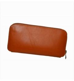 Portefeuille marron en cuir simple et lisse