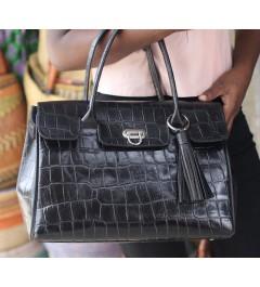 sac noir en croco