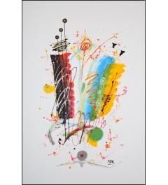 Peinture acrylique - Jeu de couleurs, ronds abstraits sur fond blanc
