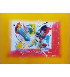Peinture acrylique - toile abstraite sur fond de couleur jaune mourtarde