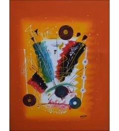 Toile abstraite  sur fond orange- acrobates en mouvement - Peinture acrylique
