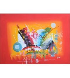 Toile abstraite sur fond rouge - jet de couleurs vives accompagnés de différentes formes abstraites