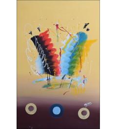 Peinture abstraite sur fond beige, danseurs africains, combinaison de couleurs