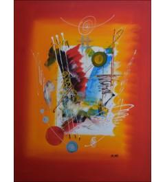 Peinture acrylique abstraite - couleurs vives et formes représentées sur fond rouge