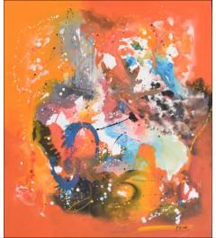 Toile abstraite , peinture acrylique , jet de couleurs