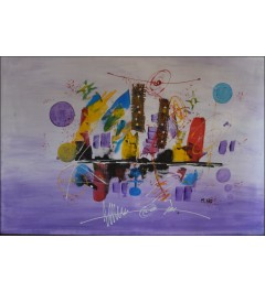 """Peinture acrylique abstraite, """"Voilier"""""""