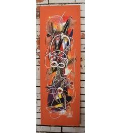 """Peinture acrylique verticale , """"Masques baoulés"""""""