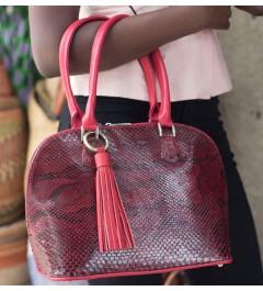 sacs rouge en cuir de serpent