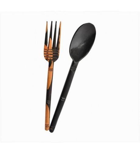 Cuillère et fourchette de service en Ébène